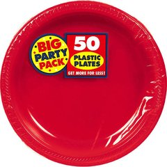 """Apple Red Big Party Pack Plastic Plates, 7"""""""