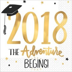 """""""2018"""" The Adventure Begins Hot Stamped Luncheon Napkins"""