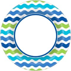 "Cool Wavy Stripe Round Plate, 8 1/2"""