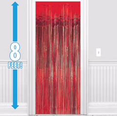 Apple Red Metallic Doorway Curtain