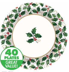 Large Seasonal Holly Value Plates 40ct