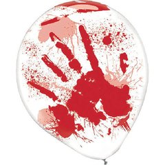 Asylum Printed Latex Balloons - Clear w/Red Blood Splatter