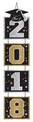 """2018"" Grad Vertical Door Decoration - Black, Silver, Gold"