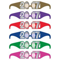 2017 New Year's Glitter Glasses Multipack - Jewel Tone