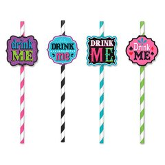 Mad Tea Party Printed Paper Straws w/Add-Ons