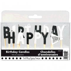 Chalkboard Dots Birthday Toothpick Candles 14ct