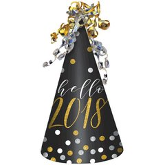"""2018"" New Year's Cone Hat - Black, Silver, Gold"