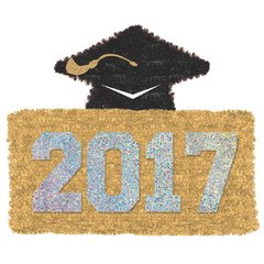2017 Grad Tinsel Decoration - Gold