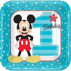 """©Disney Mickey's Fun To Be One Square Plates, 7"""""""
