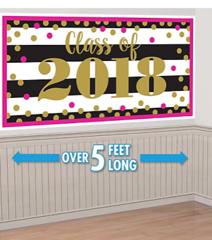 """""""2018"""" Gold Confetti Grad Horizontal Banner"""