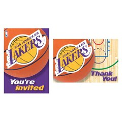 LA Lakers NBA Invitation and Thank You Cards