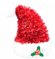 3-D Santa Hat Tinsel Decoration