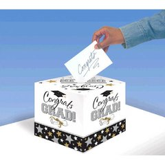 Black & White Grad Greeting Card Holder Box