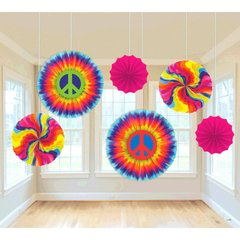 60's Printed Paper Fan Decorations