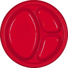 """Apple Red Divided Plastic Plates, 10 1/4"""""""