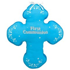 First Communion Autograph Pillow - Blue