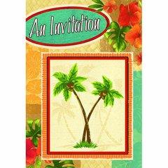 Palm Tree Party Folded w/Glitter Invitations