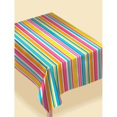 Multi Stripe Border Flannel-Backed Vinyl Table Covers