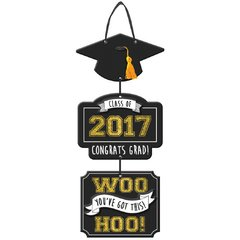 2017 Triple Grad Sign w/ Ribbon Hanger - B/S/G