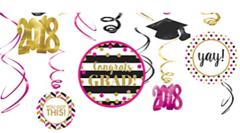 """""""2018"""" Gold Confetti Grad 12 (pcs) Swirl Decorations"""