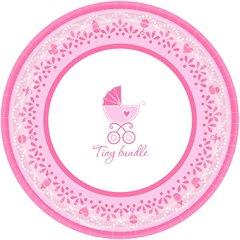 "Celebrate Baby Girl Round Plates, 7"""