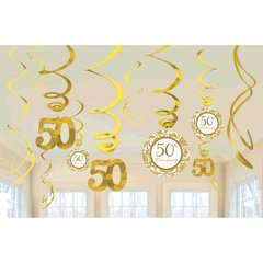 50th Anniversary Value Pack Hanging Decorations-Gold