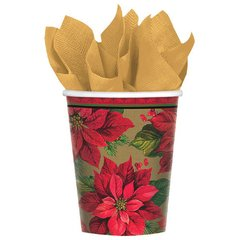 Holiday Poinsettia Cups, 9 oz.