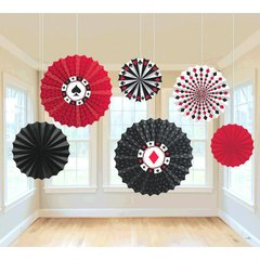 Casino Printed Paper Fan Decorations