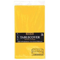 "Yellow Sunshine Rectangular Plastic Table Cover, 54"" x 108"""