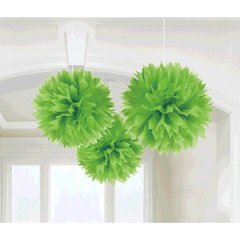 Kiwi Fluffy Paper Decorations, 3ct