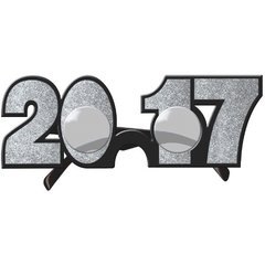 2017 New Year's Glitter Glasses - Silver