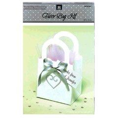 White Heart Wedding Favor Bag Kit 50ct