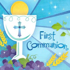 First Communion Blue Beverage Napkins