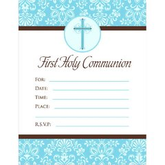 First Communion Blue Invitations