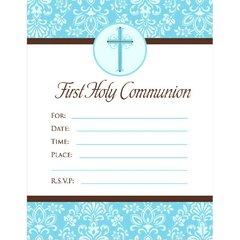 First Communion Blue Invitations