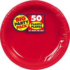 """Apple Red Big Party Pack Plastic Plates, 10 1/4"""""""