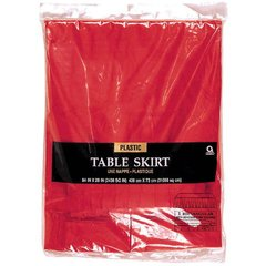 """Apple Red Solid Color Plastic Table Skirt, 14' x 29"""""""