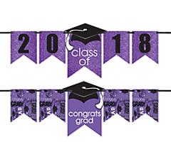 """2016-2019"" Grad Personalized Glitter Letter Banner Kit - Purple"