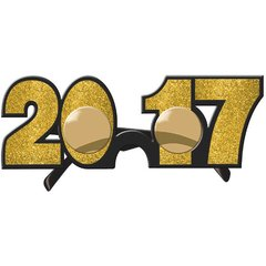 2017 New Year's Glitter Glasses - Gold