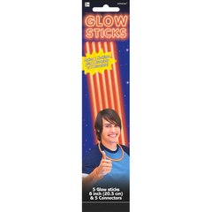 "Orange, 8"" Glow Sticks, 5ct"