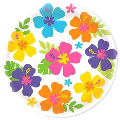 Hibiscus White Round Platter