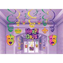 Mardi Gras Hanging Swirl Decorations Value Pack 30ct