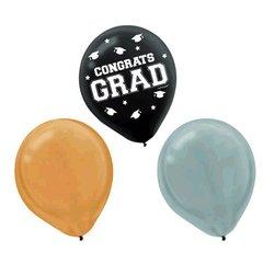 Grad Latex Balloons- Black, Silver & Gold