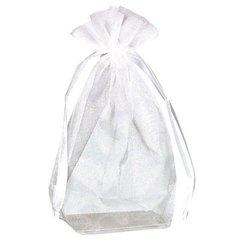 Box Bottom Organza Bag - White