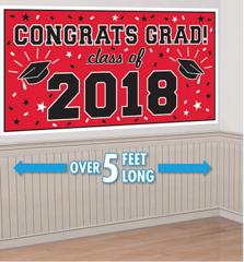 """2018"" Red Grad 2018 Horizontal Banner"