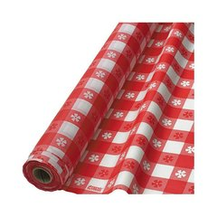 "Gingham Check Red Printed Plastic Table Roll, 40"" x 100'"