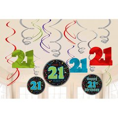 21st Brilliant Birthday Value Pack Foil Swirl Decorations