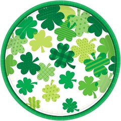 Blooming Shamrocks Round Lunch Plates, 9""