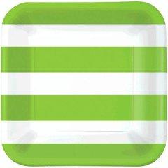 "Cabana Stripes - Kiwi 9"" Plates"