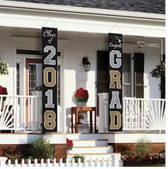 """2018"" Graduation Flags Home Decor - Black, Silver, Gold"